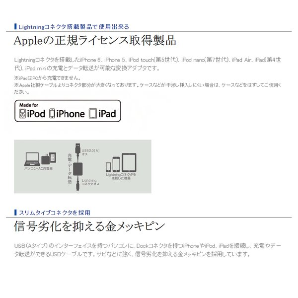 iPhoneケーブル 巻取り 80cm Apple認証 ロジテック MFi認証 iPhone USB ケーブル iPhone7 iPhone6 iPhoneケーブル 認証 巻き取り 巻取 Logitec|oobikiyaking|03