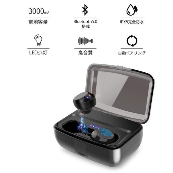 イヤホン Bluetooth 5.0 自動ペアリング 高音質 防水 モバイルバッテリー|oobikiyaking|02