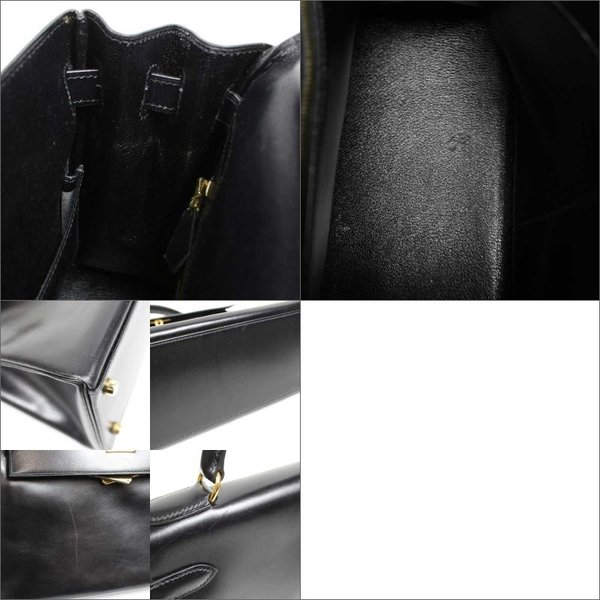 エルメス HERMES ケリー32 ボックスカーフ ○X刻 ブラック ゴールド金具 レディース ハンドバッグ()