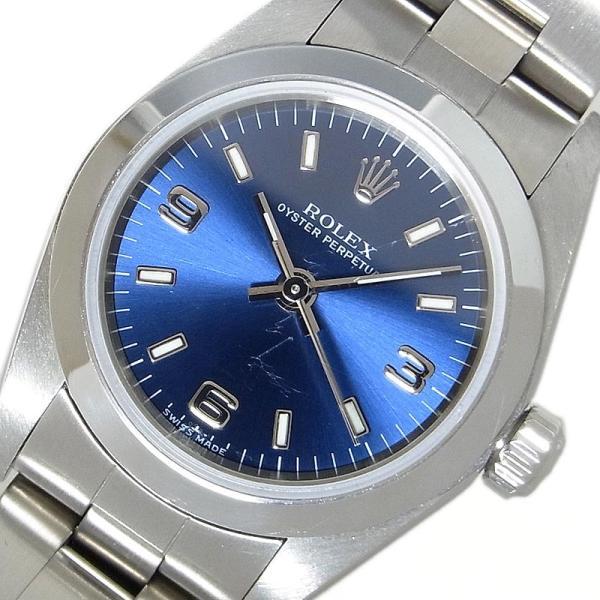 ロレックスROLEXオイスターパーペチュアル76080自動巻きブルーレディース腕時計中古