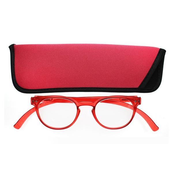 老眼鏡 シニアグラス おしゃれ 首かけ ネックリーダーボストン G091B-01 レッド 敬老の日 プレゼント