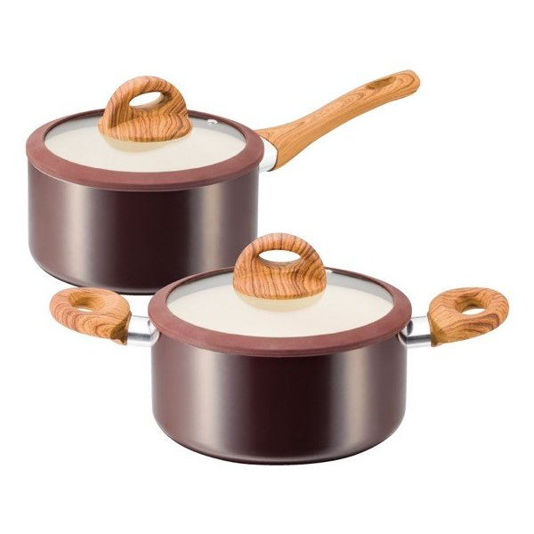 KUKUNA 木目調セラミックアルミ片手鍋18cm&両手鍋20cm 送料込み|oquru