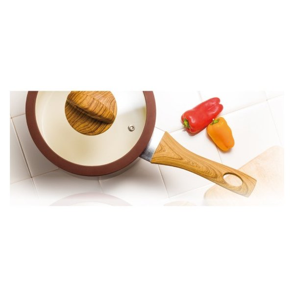 KUKUNA 木目調セラミックアルミ片手鍋18cm&両手鍋20cm 送料込み|oquru|02
