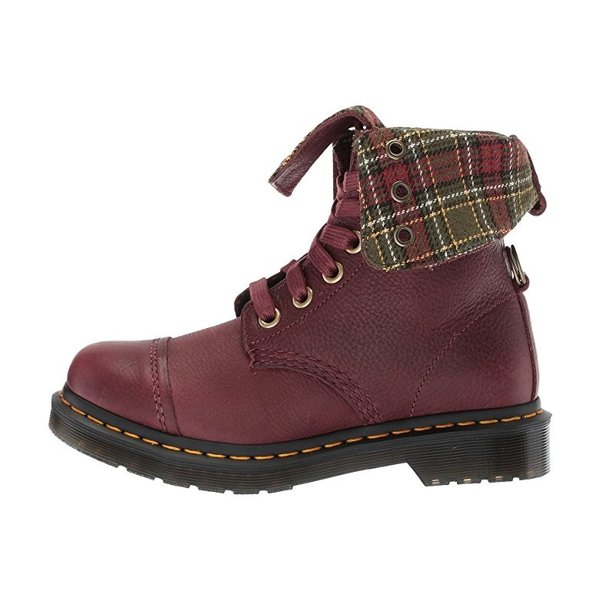 ドクターマーチン Dr. Martens Aimilita 9-Eye Toe Cap Boot レディース ブーツ Cherry Red Grizzly/DMS Tartan Khaki Wool