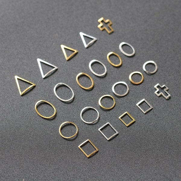 50個入り 12種類プレートフレーム メタルパーツ カーブあり ゴールド シルバー ネイルパーツ ブローチフレーム ネイル用品 GOLD フレーム orangecoco 06