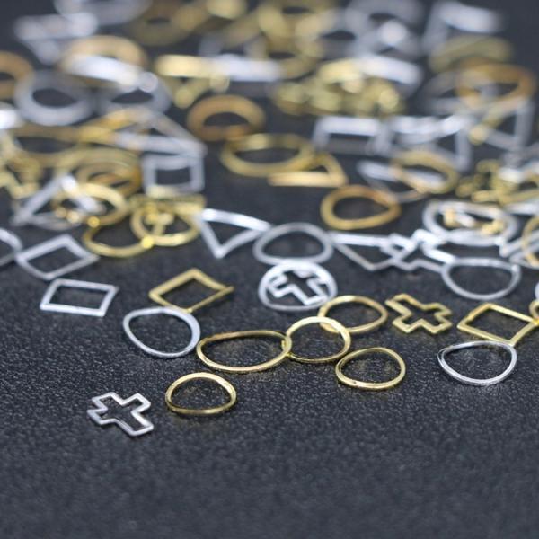 50個入り 12種類プレートフレーム メタルパーツ カーブあり ゴールド シルバー ネイルパーツ ブローチフレーム ネイル用品 GOLD フレーム orangecoco 07