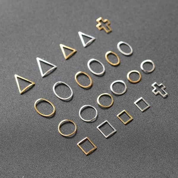 10個入り 12種類プレートフレーム メタルパーツ カーブあり ゴールド シルバー ネイルパーツ ブローチフレーム ネイル用品 GOLD フレーム|orangecoco|06