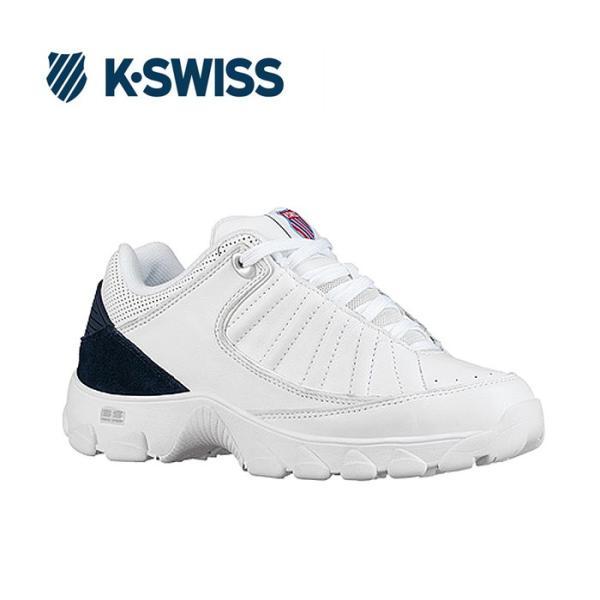 送料無料 Kスイス ケースイス ヘリテージ レディース ホワイト ネイビー スニーカー ダッドスニーカー ダッドシューズ おじ靴 レザー テニスシューズ コート K-SWISS ST529 Heritage WHITE NAVY 送料無料