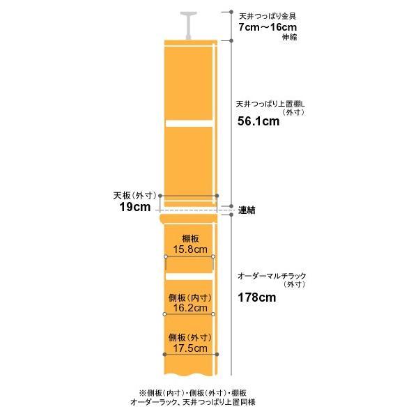 本棚 オーダー スリム 省スペース 突っ張り 薄型 書棚 オフィス マルチラック オープンラック 送料無料 奥行19cm 高さ241.1〜250.1cm 幅78cm 耐荷重 タフタイプ|ordershunostyle|03