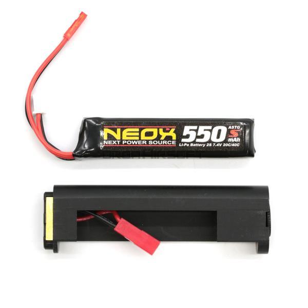 NEOX 電動サブマシンガン用 Lipoコネクター 550mAhバッテリーセット|orga-airsoft