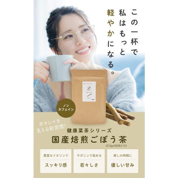 国産 ごぼう茶 2.5g 100包( 50包 x 2袋 ) ごぼう100% 九州産 ティーパック|organickitchen|02