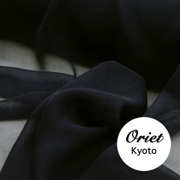 シルクシフォン生地ブラック(黒)ファッション,手芸,布,スカーフ,ハンドメイド