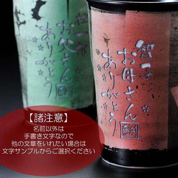 名入れ プレゼント ギフト 九谷焼 銀彩シリーズ 赤 & グリーン ペアフリーカップ|original|02