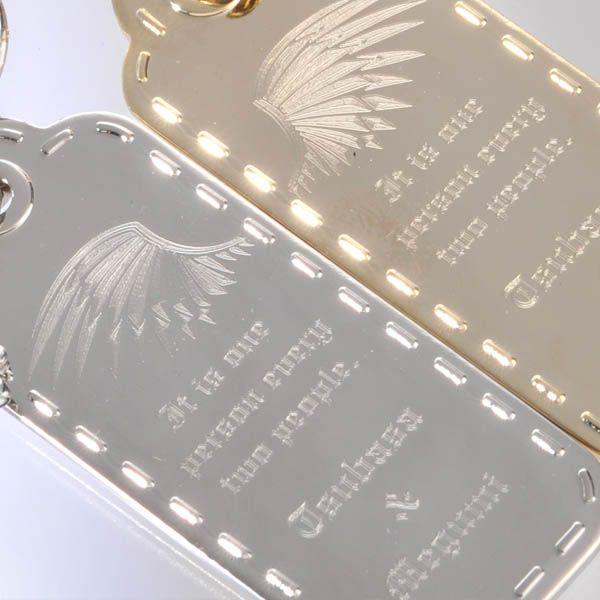 キーホルダー おしゃれ ペア 名入れ プレゼント ペアセット-ステッチタグ型プレート キーリング 二人でひとつ..|original|05