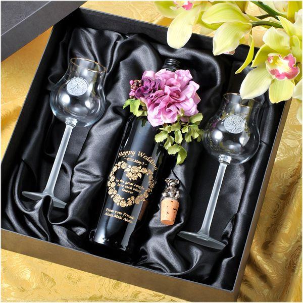 名入れ プレゼント 赤ワインフルボトル&限定ペアワイングラス2点セット テディベアボトルキャップ無料セット|original