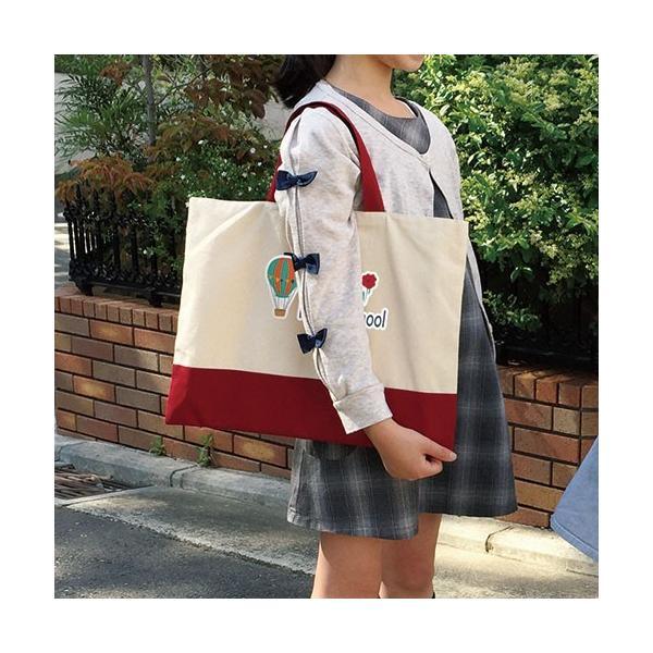 入園・入学準備セット 名入れ レッスンバッグ・シューズケース 女の子 多目的巾着袋おそろい3点セット 赤xコットン|original|12
