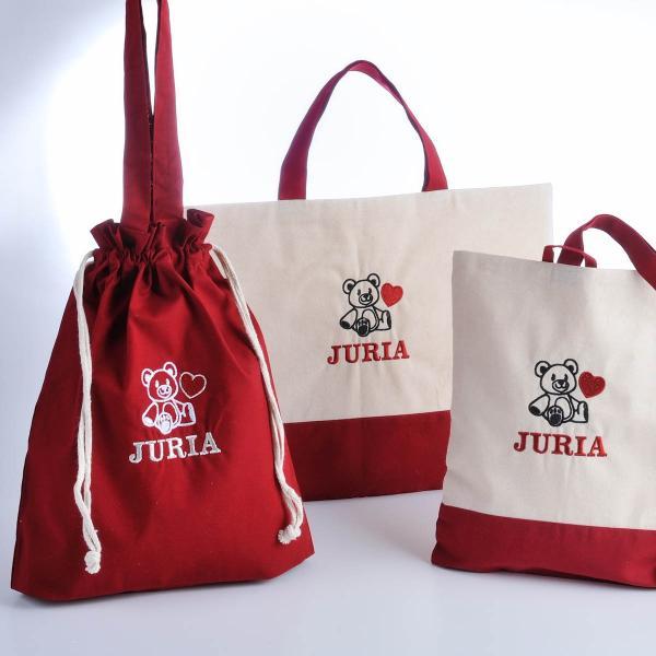 入園・入学準備セット 名入れ レッスンバッグ・シューズケース 女の子 多目的巾着袋おそろい3点セット 赤xコットン|original|14
