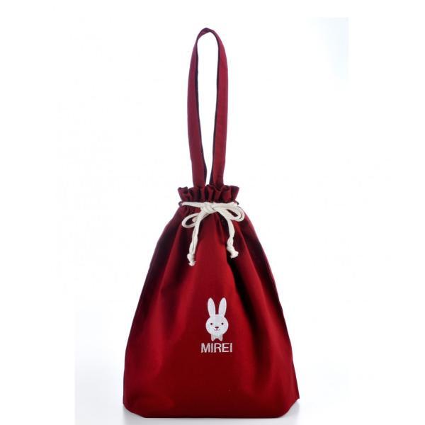 入園・入学準備セット 名入れ レッスンバッグ・シューズケース 女の子 多目的巾着袋おそろい3点セット 赤xコットン|original|16