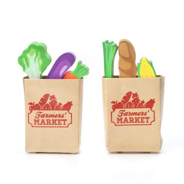 ファーマーズマーケットイレイサー 野菜とバゲットのおしゃれ消しゴム 6個セット