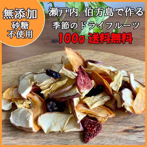 ドライフルーツ ミックス 無添加 砂糖不使用 旬の果物 大粒 100g  国産 イチジク リンゴ 柿 パイン(フィリピン産) 府藤果樹園