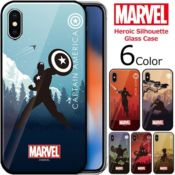 MARVEL Heroic Silhouette Glass バンパー ケース iPhone X/XS/XS Max/XR/8/8Plus/7/7Plus Galaxy S10 orionsys