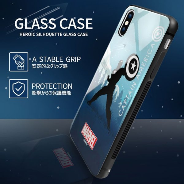 MARVEL Heroic Silhouette Glass バンパー ケース iPhone X/XS/XS Max/XR/8/8Plus/7/7Plus Galaxy S10 orionsys 05
