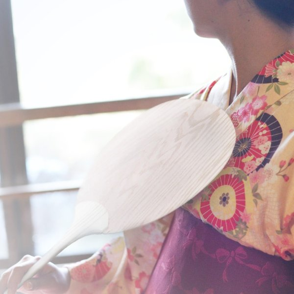国産 ヒノキ使用 木のうちわ 団扇 夏祭り 浴衣 檜の香り|orite|03