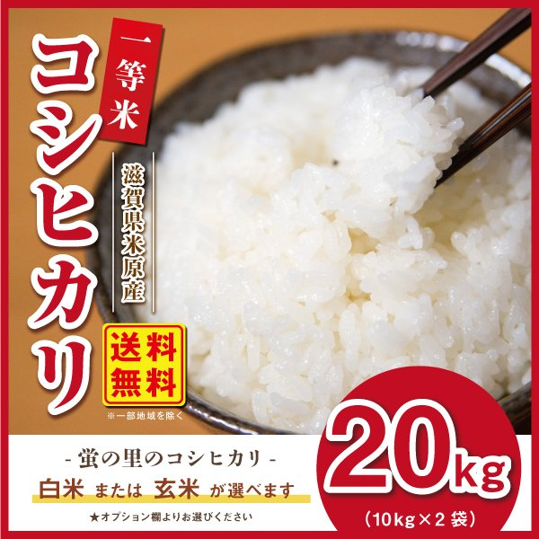 送料無料 コシヒカリ 20kg 残りわずか 滋賀県産 蛍の里の条抜き米20kg (10kg×2) 平成30年産|orite