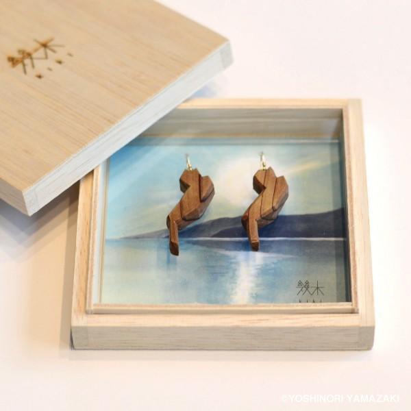 国産木材使用  木彫アクセサリー ピアス・イヤリング 琵琶湖 (スギ)|orite|03