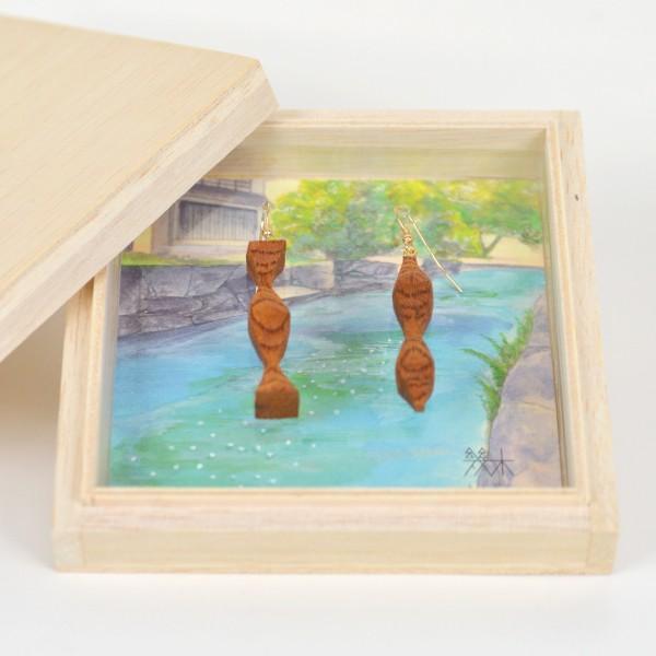 国産木材使用  木彫アクセサリー ピアス・イヤリング 居醒の清水 (ケヤキ)|orite