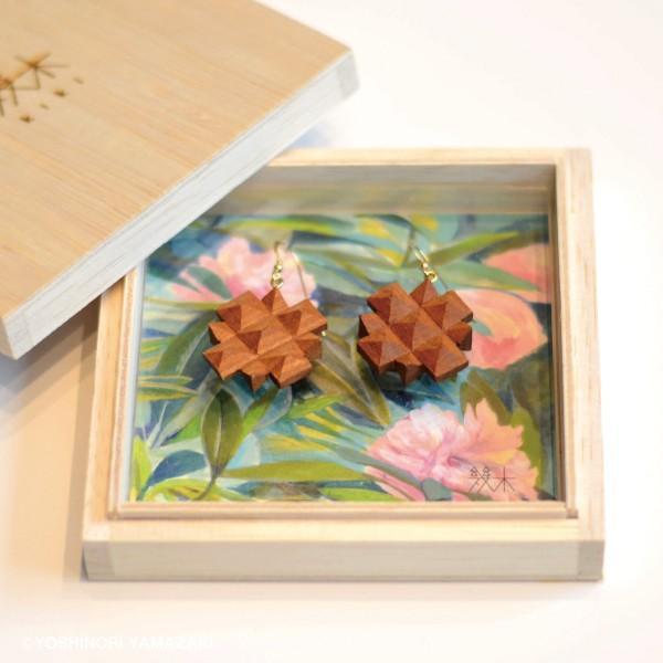 国産 木材使用 ハンドメイド ピアス・イヤリング シャクナゲ (サクラ) 木彫 アクセサリー|orite|04