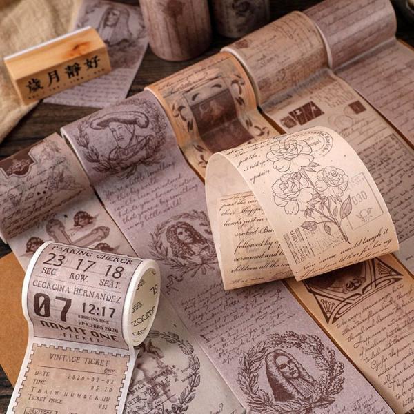 即日出荷 海外 マスキングテープ 珍しい ◆幅5cm 8種類◆ 透ける 英語 文字 ビンテージ アンティーク コラージュ 素材 手帳 デコ ヴィンテージ sztz-01-007