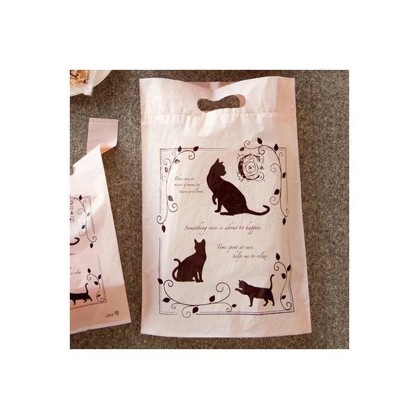 猫バッグ★猫柄ギフト袋・ピンクエレガントキャットPEバッグ-3 100枚 猫柄ビニール袋 業務用ギフト袋/猫グッツ/ネコ柄ラッピング袋|oroshistadium|04