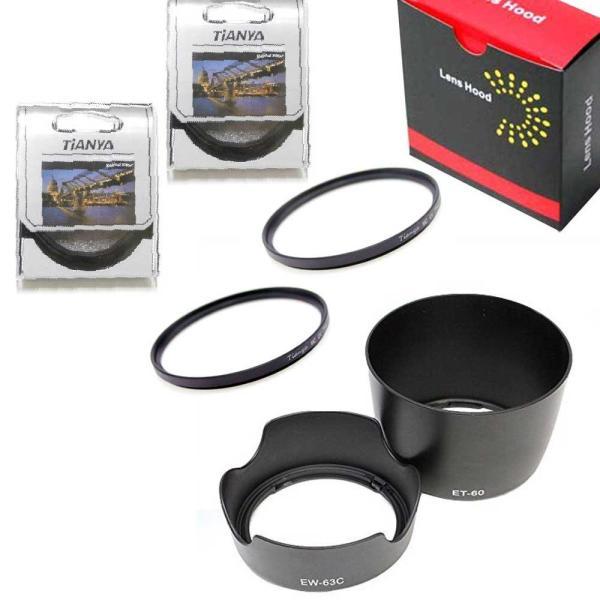 Canon EOS Kiss X7 ダブルズームキット用互換レンズフード( EW-63 ET-60 ) とレンズ保護フィルター( MC-UV