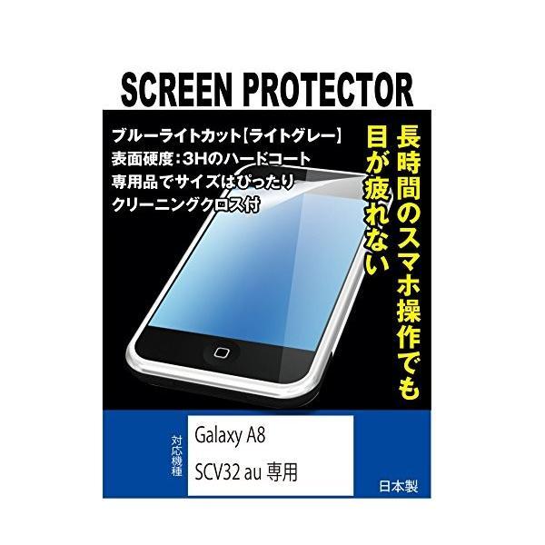 ブルーライトカット+指紋防止液晶保護フィルム Galaxy A8 SCV32 au専用(ブルーライトカット・ライトグレー)
