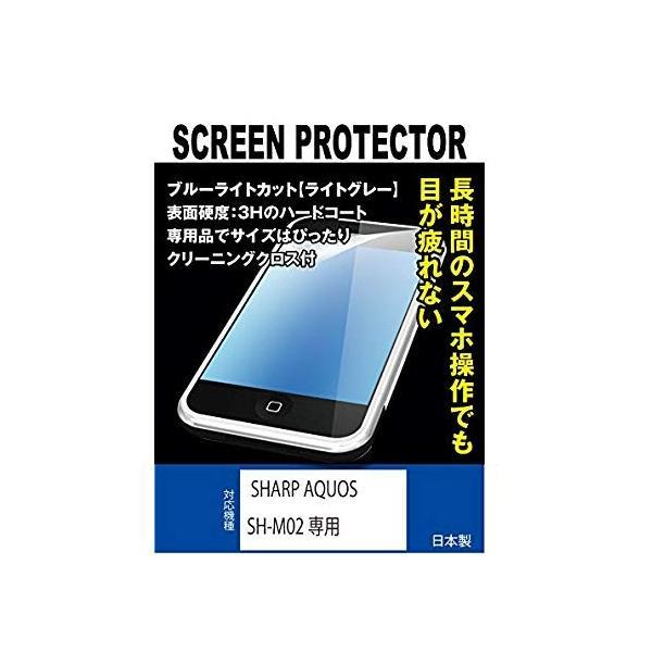 ブルーライトカット+指紋防止液晶保護フィルム SHARP AQUOS SH-M02 SIMフリー専用(ブルーライトカット・ライトグレー)
