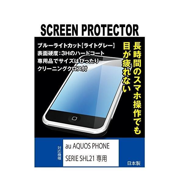 黄色くならないブルーライトカット液晶保護フィルム au AQUOS PHONE SERIE SHL21専用(ブルーライトカット・ライトグレー