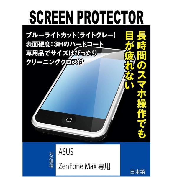 ブルーライトカット+指紋防止液晶保護フィルム ASUS ZenFone Max専用(ブルーライトカット・ライトグレー)