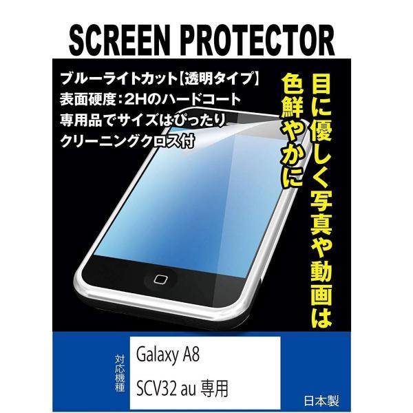 ブルーライトカット 超透明(透過率:92%以上)液晶保護フィルム Galaxy A8 SCV32 au専用(ブルーライトカット・透明)
