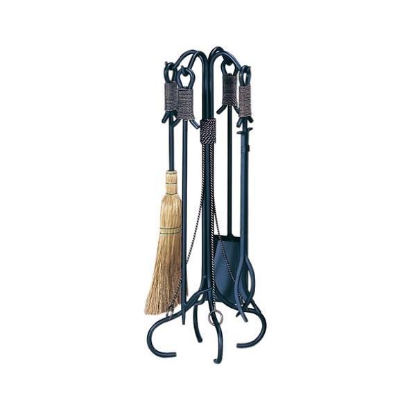 Uniflame錬鉄銅線ロープアクセント暖炉ツールセット 1 ブラック F-1299