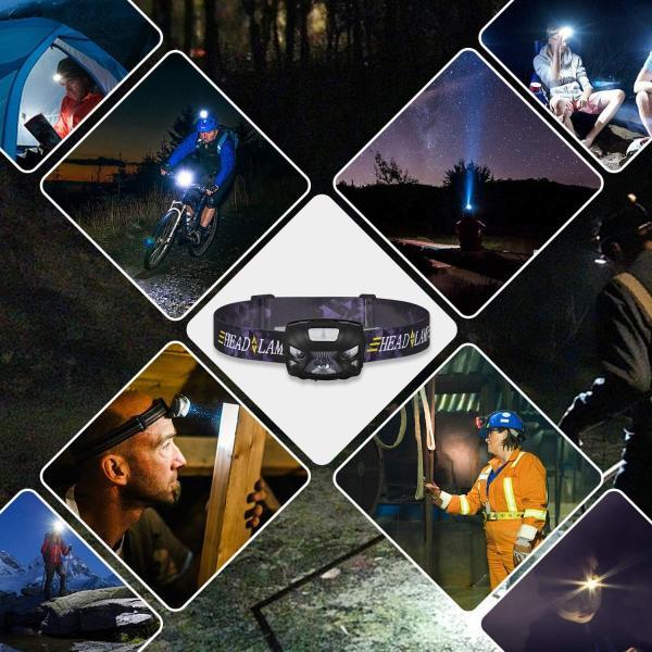 Jibo LEDヘッドライト センサー機能搭載 3つ発光モード ヘッドランプ 1200mAh内蔵 USB充電式 ライト45°角度調整 ネック