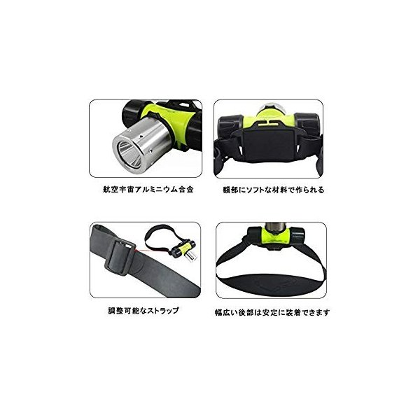 高輝度 LEDダイビングヘッドライト 作業用 耐塵 防水ヘッドランプ 潜水30m対応 点灯3モード XM-L T6搭載 フィット感抜群 快適