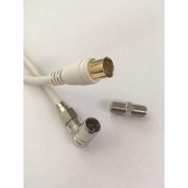 4K8K対応 3wayアンテナケーブル 10m ●延長もできる使い方によって様々に対応 抜き差しかんたんプッシュF型接栓と、安心確実六角F型