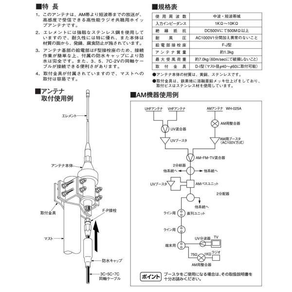 日本アンテナ ラジオ共聴用ホイップアンテナ 中波・短波帯域 給電部F-J型 WH-025A(F)