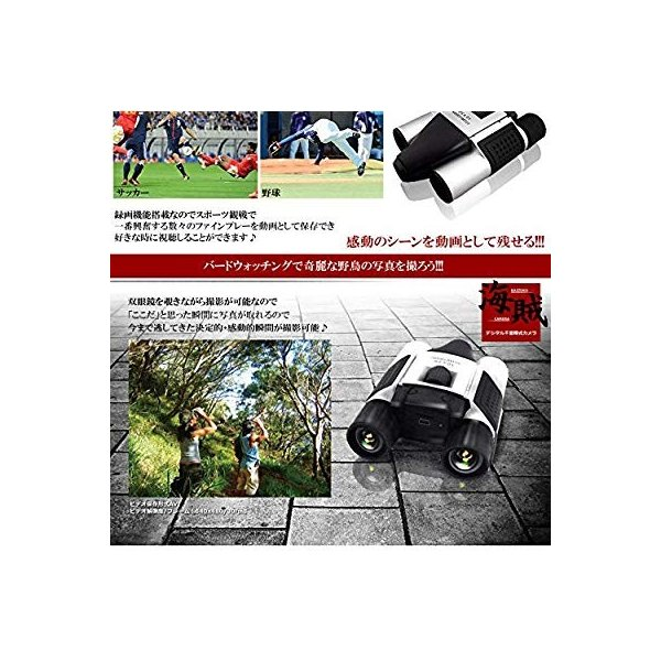 動画 静止画が撮れる デジタルビデオカメラ双眼鏡 デジタル双眼鏡 電池式 10倍 TEC-BINO-D08D