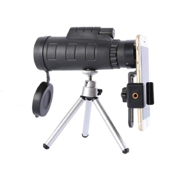 Comgrow 単眼鏡 望遠鏡(携帯ホルダー&三脚付き& 羅針盤付き) 高倍率 撮影可 取り外し可能 脱落防止 クリップ式キットセッ小型 軽