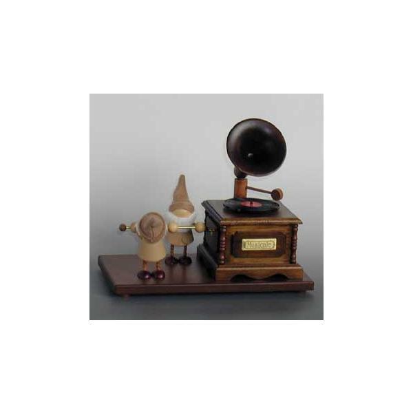 蓄音機形 アクション 小人2人星に願いを カラクリ オルゴール|orugoruya