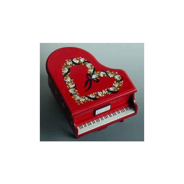 曲目選択 ピアノ型(赤/ハート柄)小物入れ(カモミールのトールペイント) オルゴール|orugoruya