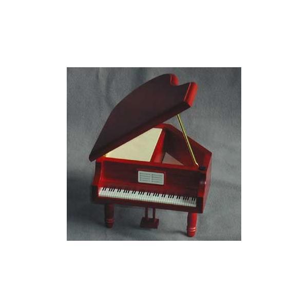曲目選択 ピアノ型(赤/ハート柄)小物入れ(カモミールのトールペイント) オルゴール|orugoruya|02