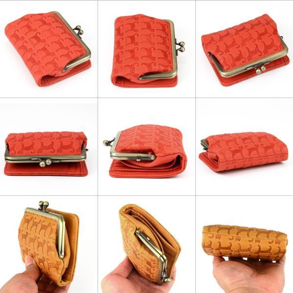 97503e5d9684 ... 二つ折り財布 レディース 本革 がま口 日本製 猫柄 miaou ミャオシリーズ UN SIGNET ...